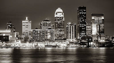 Photograph - Downtown Louisville Kentucky Skyline Panorama At Dusk - Sepia by Gregory Ballos