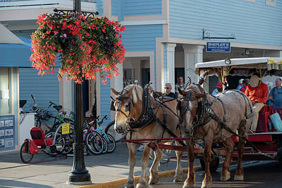 Photograph - Downtown Mackinac In Morning With Horses And Bikes Paintography by Dan Friend