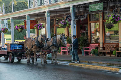 Photograph -  Downtown Mackinac With Delivery Cart by Dan Friend