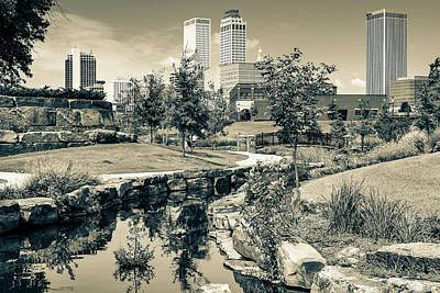 Photograph - Downtown Skyline Of Tulsa Oklahoma - Sepia Edition by Gregory Ballos