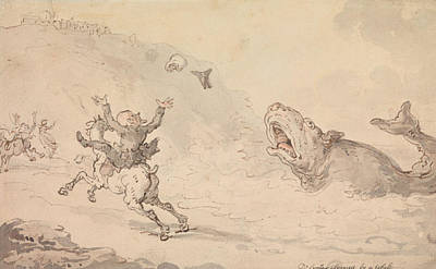 Drawing - Dr Syntax Alarmed By A Whale by Thomas Rowlandson