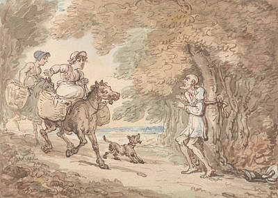 Drawing - Dr. Syntax Bound To A Tree By Highwaymen by Thomas Rowlandson
