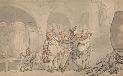 Drawing - Dr. Syntax Made Free Of The Cellar by Thomas Rowlandson
