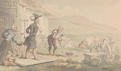 Drawing - Dr Syntax Meditating On The Tombstones by Thomas Rowlandson