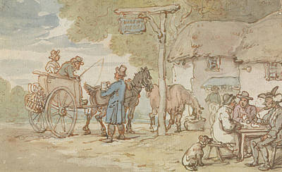 Drawing - Dr Syntax Outside The Halfway House by Thomas Rowlandson