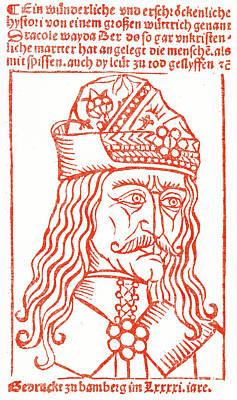 Drawing - Dracula Or Vlad Tepes, 1491 Woodcut by German School