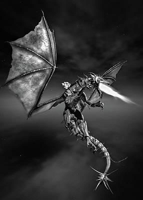 Digital Art - Dragon Rider Bw by Bob Orsillo