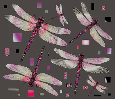 Drawing - Dragonflies Pink Flutter by Joan Stratton