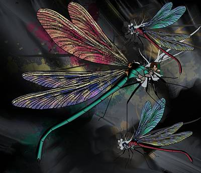 Drawing - Dragonflies Whimsy by Joan Stratton