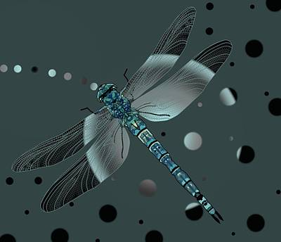 Drawing - Dragonfly Odyssey by Joan Stratton