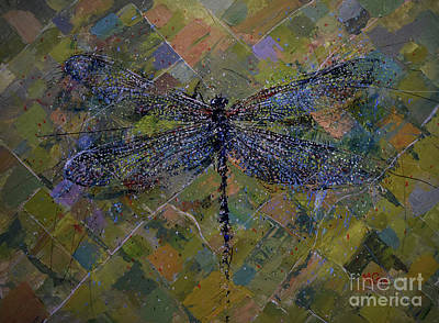 Painting - Dragonfly Rising Above by Michael Glass