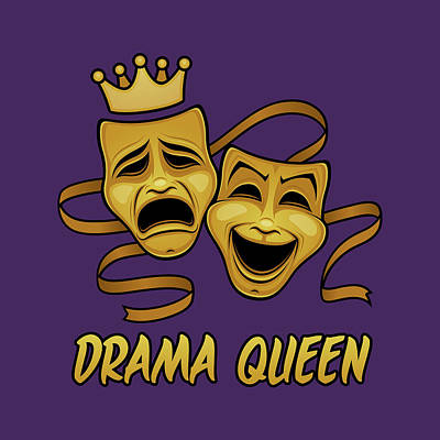 Royalty-Free and Rights-Managed Images - Drama Queen Comedy And Tragedy Gold Theater Masks by John Schwegel