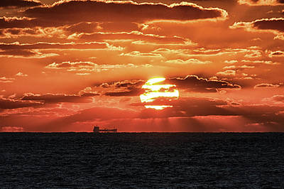 Photograph - Dramatic Atlantic Sunrise With Ghost Freighter by Bill Swartwout Fine Art Photography