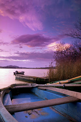Photograph - Dramatic Sky Over A Boat, Bavaria by Wingmar