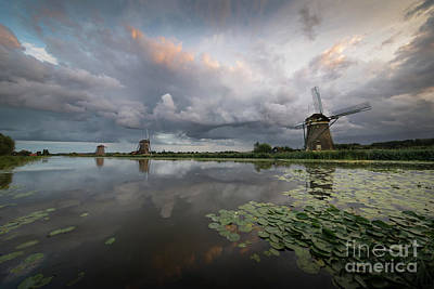 Photograph - Dramatic Sky Over Three Windmills In Holland by IPics Photography