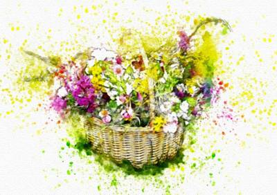 Music Royalty-Free and Rights-Managed Images - Drapercalia Catus 2 No.10 - Flower Basket - After The Style  Of G J R Draper. L B   by Gert J Rheeders