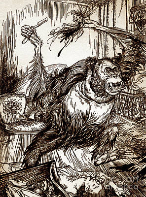 Drawing - Drawing From Murder In The Rue Morgue By Edgar Allan Poe by Arthur Rackham