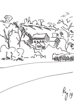 Drawing - Drawing Of Buildings Among Trees Under A Hill In Devon by Mike Jory
