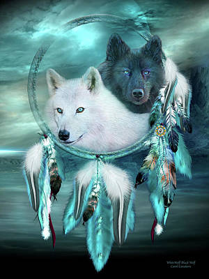 Mixed Media - Dream Catcher - White Wolf Black Wolf by Carol Cavalaris