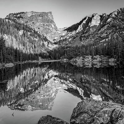 Photograph - Dream Lake Morning Light - Colorado Monochrome by Gregory Ballos