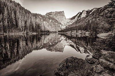 Photograph - Dream Lake Sepia Mountain Landscape Reflections by Gregory Ballos