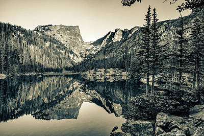 Photograph - Dream Lake Still Waters - Rocky Mountain National Park Landscape - Sepia by Gregory Ballos