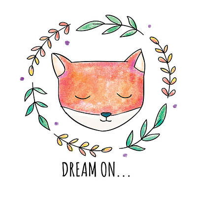 Drawing - Dream On - Boho Chic Ethnic Nursery Art Poster Print by Dadada Shop