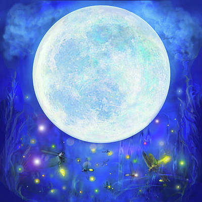 Digital Art - Dreaming Moon by Brenda Ferrimani