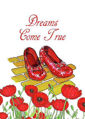 Painting - Dreams Come True Wizard Of Oz Ruby Slippers by Irina Sztukowski