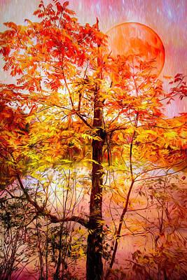 Photograph - Dreamy Autumn Moon by Debra and Dave Vanderlaan
