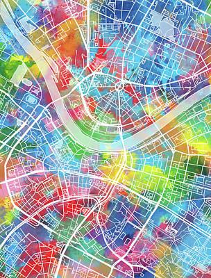 Dresden Wall Art - Digital Art - Dresden Map Watercolor by Bekim Art