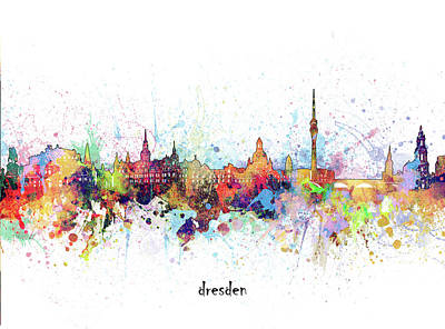Abstract Skyline Royalty-Free and Rights-Managed Images - Dresden Skyline Artistic by Bekim M