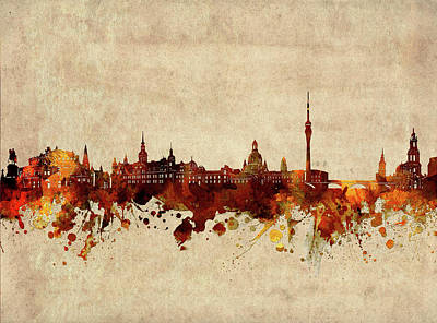 Abstract Skyline Royalty-Free and Rights-Managed Images - Dresden Skyline Sepia by Bekim M