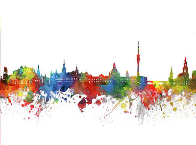 Abstract Skyline Royalty-Free and Rights-Managed Images - Dresden Skyline Watercolor 2 by Bekim M