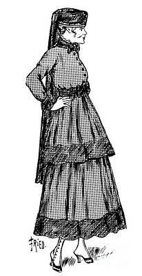 Drawing - Dress And Hat With Veil Considered Suitable For Mourning by French School
