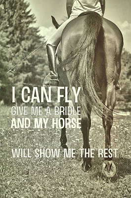 Dressage In The Daisies Quote Art Print by JAMART Photography