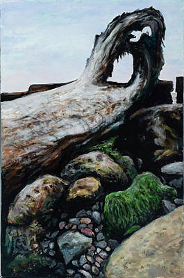 Painting - Driftwood On Rocks by David Burke