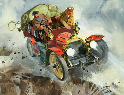 Painting - Driving During A Ten Thousand Mile Motor Race by Ferdinando Tacconi