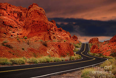 Photograph - Driving Through The Valley Of Fire In Nevada by Les Palenik