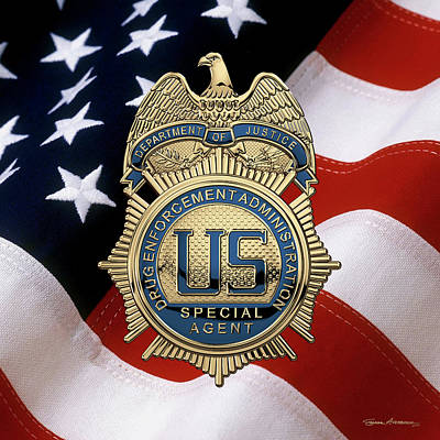 Digital Art - Drug Enforcement Administration -  D E A Special Agent Badge Over American Flag by Serge Averbukh