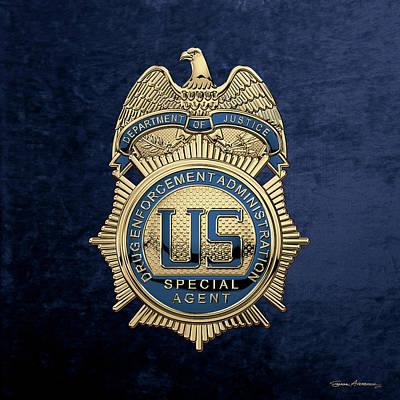 Digital Art - Drug Enforcement Administration -  D E A  Special Agent Badge Over Blue Velvet by Serge Averbukh