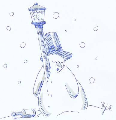 Drawing - Drunk Snowman Sleeping Christmas Cartoon by Mike Jory
