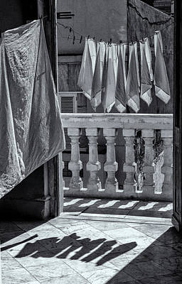 Photograph - Drying Napkins Black And White by Tom Singleton
