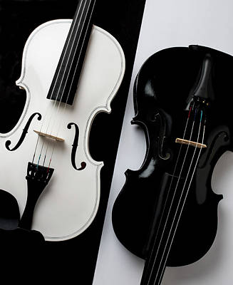 Photograph - Dual Violins In Black And White  by Garry Gay