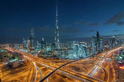Dubai Downtown Area With Burj Khalifa Art Print by Umar Shariff Photography