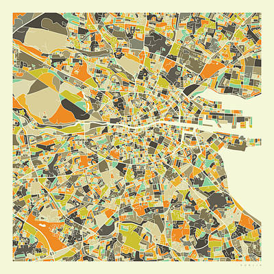 City Map Wall Art - Digital Art - Dublin Map 1 by Jazzberry Blue