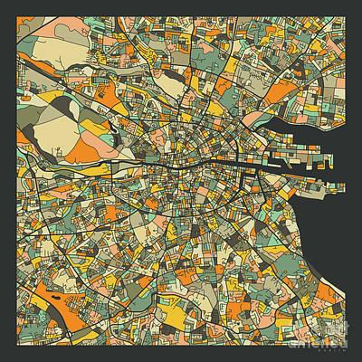 Dublin Wall Art - Digital Art - Dublin Map 2 by Jazzberry Blue
