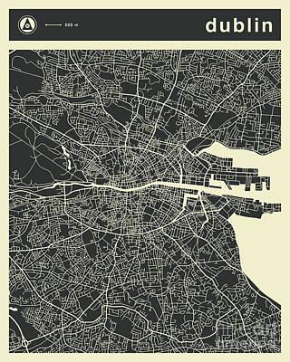 Dublin Wall Art - Digital Art - Dublin Map 3 by Jazzberry Blue