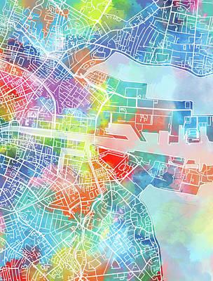 Pop Art Drawings - Dublin Map Watercolor by Bekim Art