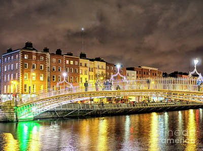 Photograph - Dublin Nights Along The River Liffey by John Rizzuto